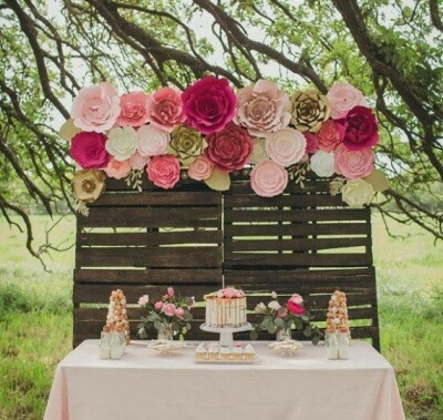 Outdoor Wedding Flower Wall